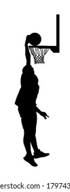 Basketball player stunt jumping and dunking silhouette isolated on white background. Basketball player making slam dunk vector illustration. Hoop and board vector silhouette illustration.