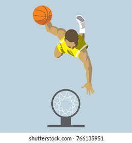 basketball player throwing a ball into the basket, top view, vector cartoon illustration
