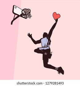 Basketball player throws the ball into the shape of a heart in a basket, Valentine's day. can be used for valentine's day greeting cards, party invitations, posters, prints and books
