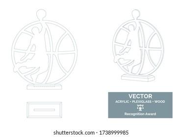 Basketball player trophy vector template, Basketball trophy template, Basketball championship recognition award, Best player award
