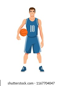 basketball player in uniform with ball isolated on white background. Vector illustration