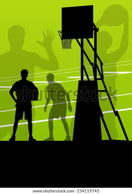 Basketball player vector abstract background concept landscape vector