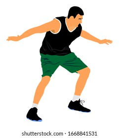 Basketball player vector illustration isolated on white background. Fight for the ball. defense and attack positions in street basket sport.