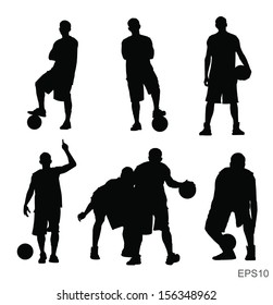 Basketball player vector silhouette set with Vector EPS10