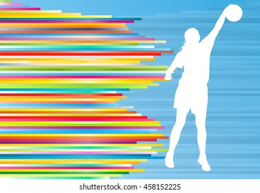 Basketball player woman silhouette vector abstract background illustration with colorful stripes