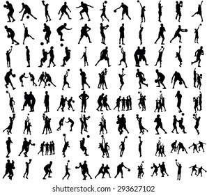 Basketball players black silhouette vector illustration isolated on white background.