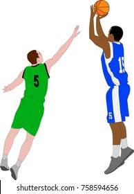 basketball players illustration - vector