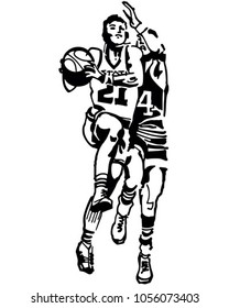 Basketball Players - Retro Clip Art Illustration