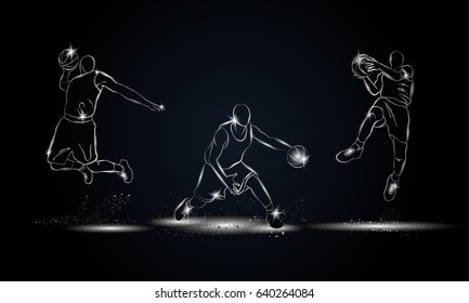 Basketball players set. Metallic linear basketball player illustration for sport banner, background and flyer.
