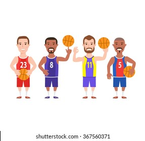 basketball players set. basketball player with ball isolated on white background