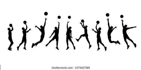 Basketball players silhouettes isolated on a white background. Athletes with a basketball ball jump up to the hoop. Vector stock illustration.