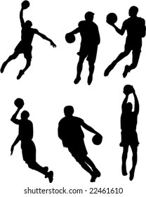 basketball players silhouettes - vector