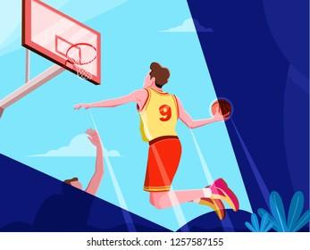 Basketball Players Slamdunk Vector Illustration Flat Design