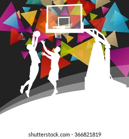 Basketball players young active men healthy sport silhouettes vector background illustration