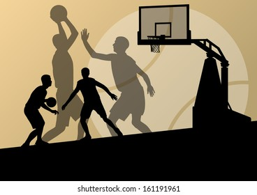 Basketball players young active sport silhouettes vector background illustration