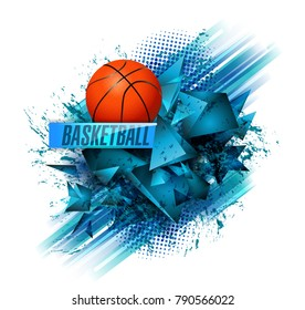 basketball Points, lines, triangles, text, color effects and abstract background vector illustration, sports