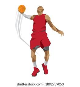 Basketball pose vector set design cube style