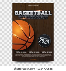 Basketball Poster with Basketball Ball. Basketball Playoff Advertising. Sport Event Announcement