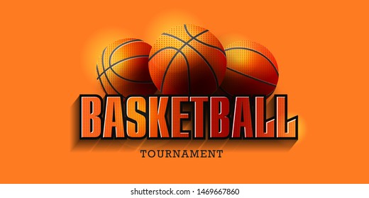Basketball Poster with Basketball Balls and big typography. Basketball Playoff Advertising. Sport Event Announcement.