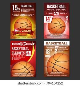 Basketball Poster Set Vector. Design For Sport Bar Promotion. Basketball Ball. Modern Tournament. Sport Event Announcement. Banner Advertising. Template Illustration