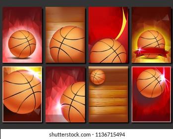 Basketball Poster Set Vector. Empty Template For Design. Basketball Ball. Tournament. Sport Event Announcement. Banner Advertising. Game Flyer, Leaflet Blank Illustration