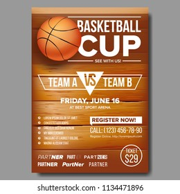 Basketball Poster Vector. Design For Sport Bar Promotion. Basketball Ball. Modern Tournament. Game Event Illustration