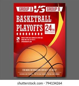 Basketball Poster Vector. Design For Sport Bar Promotion. Basketball Ball. Modern Tournament. Game Illustration