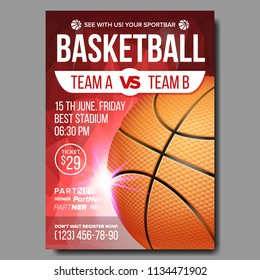 Basketball Poster Vector. Tournament Banner Advertising. Sports Bar Event Announcement. Game, League, Camp Design Blank. Basketball Ball. Championship Illustration