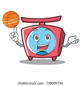 With basketball scale character cartoon style