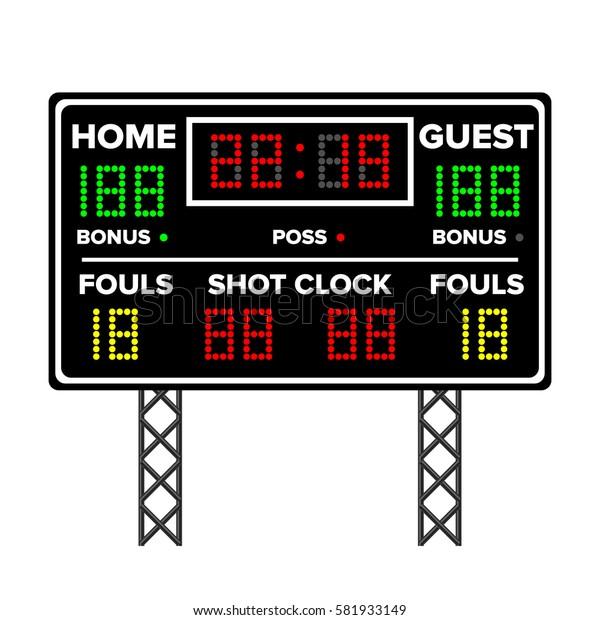 Basketball Scoreboard. Time, Guest, Home. Electronic Wireless Scoreboard Timer. Vector Illustration
