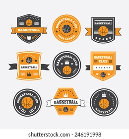 Basketball set vintage emblems, labels and logos or symbols with laurel wreath, basketball ball, crown and stars