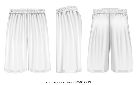 Basketball shorts (front, back and side views). Fully editable handmade mesh. Vector illustration.