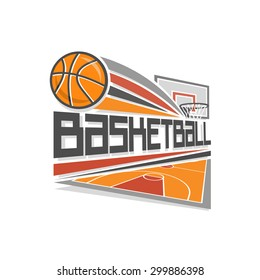 Basketball shot in goal vector logo with ball on background of the orange basketball court playground and the backboard with basket and net, sport stadium arena