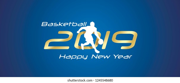 Basketball silhouette 2019 Happy New Year gold white logo icon blue background