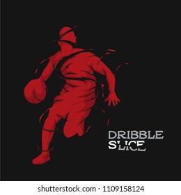 basketball silhouette dribble slice