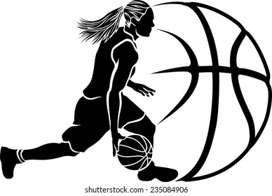 Basketball silhouette of a female basketball player dribbling with stylized ball.