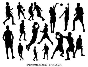 Basketball silhouette set