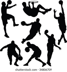 Basketball, silhouette, vector