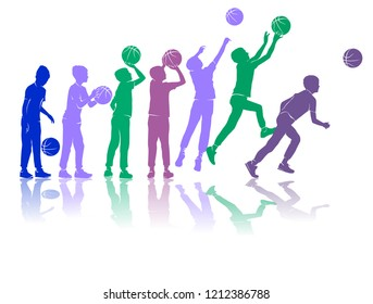 Basketball silhouettes dynamic colored