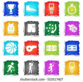 Basketball simply symbol in grunge style for user interface design