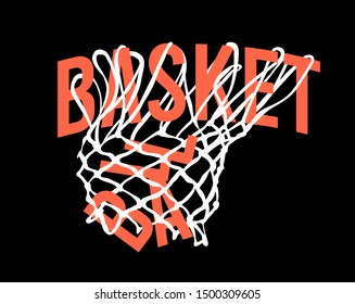 basketball slogan in hoop net illustration
