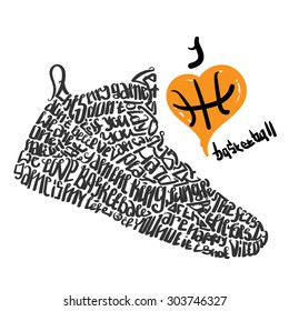 Basketball sneakers lettering I love basketball ,lettering shoes