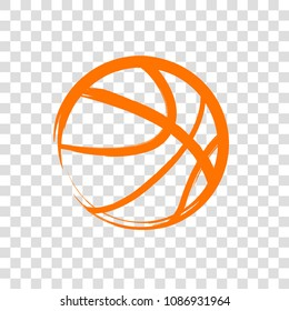 Basketball sport ball abstract brush style. Vector isolated on a transparent background