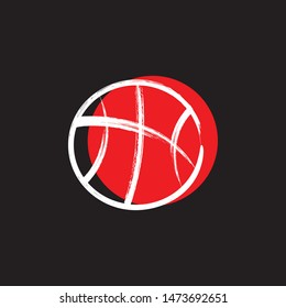 Basketball sport ball abstract brush style. Vector isolated on a black background