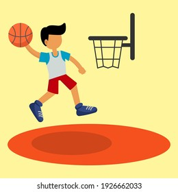 basketball sport cartoon icon of vector illustration