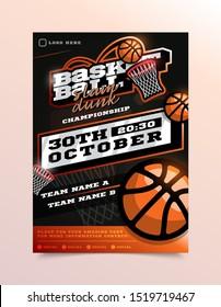 Basketball Sport Flyer Vector. Vertical Card Poster Design For Sport Bar Promotion. Tournament Flyer. Invitation Illustration.