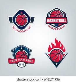 Basketball sport logo design set, vector illustration