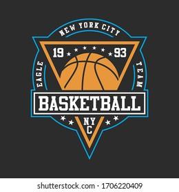 basketball sport, original design typography, t-shirt graphics, vectors illustration