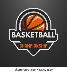 Basketball sports logo, label, emblem on a dark background.