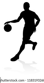 A basketball sports player silhouette illustration